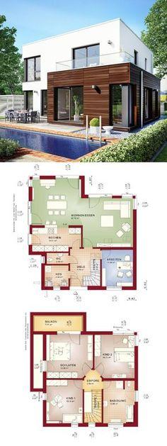 Bauhaus Stadtvilla modern mit Flachdach Architektur & Erker Anbau - Grundriss Haus Evolution 143 V11 Bien Zenker Fertighaus bauen - HausbauDirekt.de