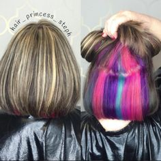 Underlights coloré sur carré Peekaboo Hair Colors, Funky Hair Colors, Hair Color Blue, Blue Hair, Funky Hairstyles, Weave Hairstyles, Long Curly Hair, Curly Hair Styles, Hidden Hair Color