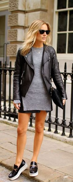 Lucy Williams is wearing a grey jumper from Zara, black skirt from All Saints, flatforms from Stella McCartney, bag from Baukjen and the leather jacket from Belstaff... | Style Inspiration