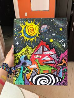 hippie painting ideas 714665034604592351 - Trippy drawing 🎨 Art Trippy Dino 🦕 Source by jeannellectl Trippy Drawings, Psychedelic Drawings, Art Drawings, Hippie Kunst, Hippie Art, Hippie Painting, Trippy Painting, Small Canvas Art, Mini Canvas Art