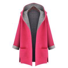 Plus la Taille XL-5XL 2016 D'hiver Femmes Hoodies Long Manteau de Laine Poche De…