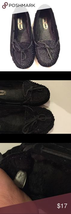 Minnetonka sparkle moccasins Cute black moccasins with sparkle! Have been worn a handful of times. Minnetonka Shoes Moccasins