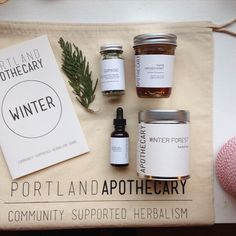 Winter CSH Share 2014: Winter Forest Tea, Thyme Infused Honey, Herbal Gomasio with Nettle & Milk Thistle Seeds, hand harvested seaweed and sesame seeds and Ginger Root + Roasted Dandelion bitters. So good! — Portland Apothecary