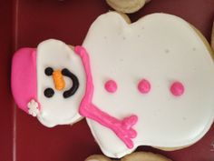 Winter ONEderland party (1st birthday) - Pink snowman cookies