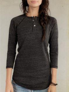 Alternative Apparel | Women's 3/4-Sleeve Raglan Henley | $34.00