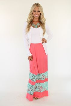 Lime Lush Boutique - Coral and Mint-Laced Maxi Skirt, $46.99 (http://www.limelush.com/coral-and-mint-laced-maxi-skirt/)