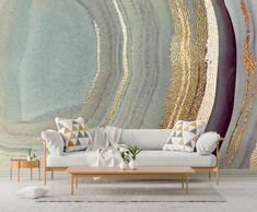 Interior Design Trends Our Predictions Grey Furniture, Art Deco Furniture, Furniture Styles, Interior Design Trends, Home Decor Trends, Interior Ideas, Home Depot, Marble Effect Wallpaper, Art Deco Home
