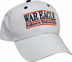 """Auburn Tigers """"WAR EAGLES"""" The Game Classic Bar Adjustable Cap with Mascot Name by The Game. $16.99. cotton. Solid White Cotton Twill hat with a Low Profile shape. The Game AUBURN WAR EAGLE white, cotton twill, low profile, bar design, adjustable cap.. Plastic back strap. One size fits most. Team color undervisor, button, sweatband, and eyelets. NCAA Auburn Tigers """"WAR EAGLES"""" The Game Classic Bar Adjustable Cap with Mascot Name"""