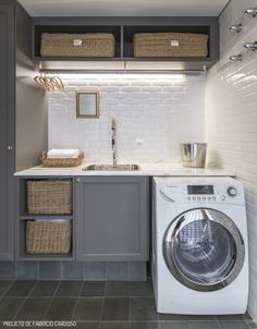 Small, but well organized laundry room.