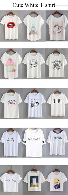 Amazing cute tees! It's basically one of those classic t-shirts that you can have in your closet forever. From $9.90 What are you waiting for? Go for the lovely t-shirt now! Shein.com will give you a hit!