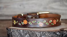 Gold Glam Flowers Leather Dog Collar by Wilder Collars