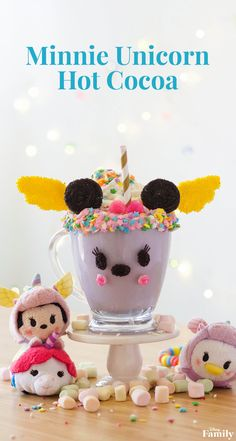 Add some melted candies, whipped cream, and sprinkles (lots of them!) to turn a simple mug into Minnie hot cocoa with a unicorn twist! Click for the Minnie recipe.