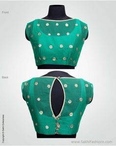 Elegant Green designer blouse featuring sequin detailing with motifs inspired by flora on the Banarsi silk net and the base is Raw silk.