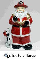 Santa Fireman Cookie Jar with Dalmatian Firedog and Golden Hose