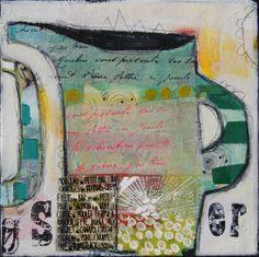 Billedkunstner Charlotte Eland - farverige og sprudlende malerier Mixed Media Collage, Collage Art, Porc Au Caramel, Quelques Photos, Art Journal Pages, Art Journals, Beautiful Paintings, Constellations, Paper Art
