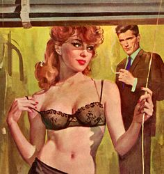 """Robert Maguire painting on the cover of """"Bachelor Girl"""" by Frances Loren 1963."""