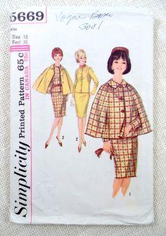 Vintage Pattern Simplicity 5669 1960s Mad Men suit Bust 36 cape dress Jackie Kennedy Onassis Pan Am Uncut