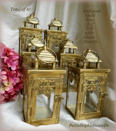 This listing is for 6 Antiqued Gold Lanterns- 8.5 tall, 4 X 4. I am an artist, creating one of a kind décor and wedding designs. *These are