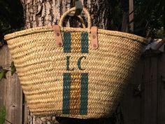 Monogrammed straw bag, personalized beach bag, custom initialed tote