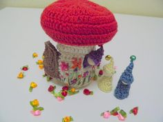 Gnome Mushroom Cottage, Three gnomes, Mushroom house, crochet, Embroidered, colorful, waldorf