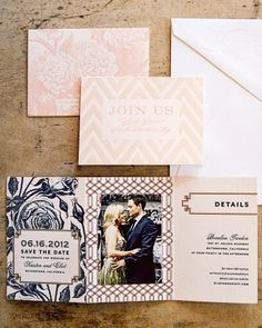 Floral patterns and script typography hint at formal elegance, while chevron stripes add modernity