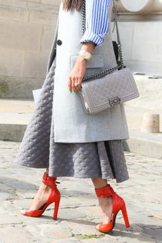 All greyed out with a pop of red for a Parisian twist!
