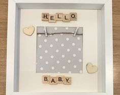 Baby scan scrabble frame Hello baby frame first photo frame baby gift new Baby photo baby keepsake frame hello baby Scrabble Letter Crafts, Scrabble Frame, Scrabble Art, Scrabble Tiles, Diy Shadow Box, Shadow Box Frames, 3d Frames, Baby Scan Frame, New Baby Photos