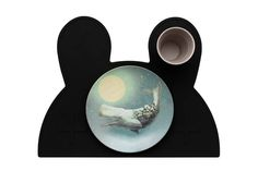"""Bunny Placie- Pure BlackThis gorgeous bunny placemat (with """""""" eyes) is perfect for the little munchkin in your life. Made from a toxic-free food grade silicone these placemats are non-slip and dishwasher safe making them a practical addition to your dinner table."""