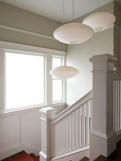 Modernica manufacturer george nelson pendant lamps foyer stairwell with nelson pendants i love these hand rails aloadofball Choice Image
