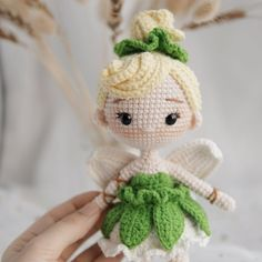 Ravelry: Tinker Bell Amigurumi pattern by Thuy Anh Kawaii Crochet, Crochet Disney, Cute Crochet, Crochet Dolls Free Patterns, Crochet Doll Pattern, Doll Patterns, Crochet Patterns Amigurumi, Amigurumi Doll, Crochet Toys