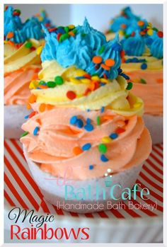 These magic rainbows cupcakes were made with our kool aid fragrance oil. They were made by Nicole from http://www.thebathcafe.com/