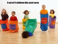5 out of 6 children like sack races