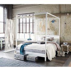 Letto a baldacchino 160 x 200 cm bianco sporco in legno Celeste | Maisons du Monde
