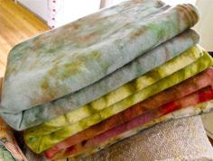 Pretty hand dyed wools by Karen Kahle at Primitive Spirit.