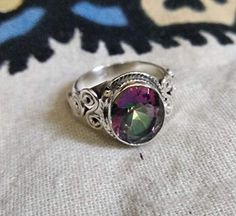 Genuine Rainbow Fire Mystic Topaz Ring, Solid 925 Sterling Silver, Engagement Ring, Vintage Jewelry Handmade Mystic T. Topaz Gemstone, Topaz Ring, Gemstone Jewelry, Jewelry Gifts, Fine Jewelry, Handmade Jewelry, Jewelry Box, Victorian Jewelry, Vintage Jewelry