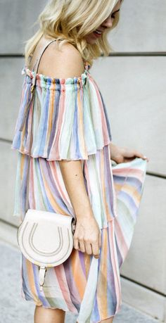 Last year I was OBSESSED with the Chloe rainbow dress.  It's just so sweet and made for long summer days.  But like most runway dresses the price was painful so I was on the search for similar dresses that gave me the same look… and I FINALLY FOUND ONE!  This girly striped off the shoulder dress has the same ethereal-like quality!