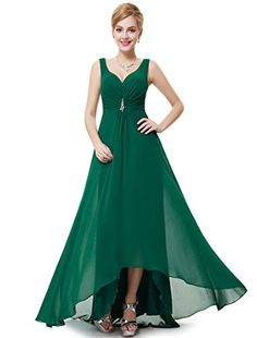 fc5b720a169 Amazon.com  Ever Pretty™ Double V-Neck Rhinestones Ruched Bust Hi-Lo Evening  Dress 09983  Clothing