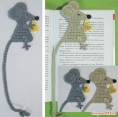 Mice markers - crochet mouse bookmark with long tail - Crochet Bookmark Pattern, Crochet Bookmarks, Crochet Books, Crochet Gifts, Crochet Patterns, Crochet Mouse, Love Crochet, Crochet Flowers, Knit Crochet
