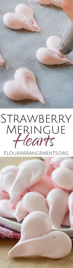 These crisp little Strawberry Meringue Hearts melt in your mouth with a sweet, hint-of-strawberry flavor that comes from freeze-dried strawberries. A perfect recipe for Valentine & s. Strawberry Meringue, Strawberry Recipes, Strawberry Roses, Cookie Recipes, Dessert Recipes, Baking Recipes, Freeze Dried Strawberries, Valentines Day Food, Snacks