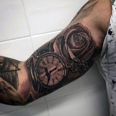 Male Bicep Rose And Pocket Watch Tattoo