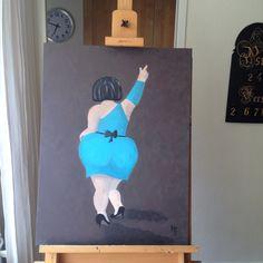Nog maar een dikke dame geschilderd... Acrylverf op doek.