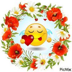 Camomile and poppy frame in the shape of circle Emoticon Faces, Funny Emoji Faces, Smileys, Coeur Gif, Emoji Symbols, Random Gif, Emoji Images, Smiley Emoji, Royalty Free Clipart