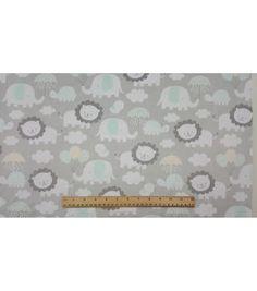 "Soft & Comfy Nursery Fabric 57""-Elephant Raishowers Sc"