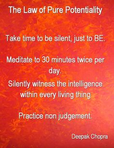 """(1) LAW OF PURE POTENTIALITY: """"Take time to be silent, just to BE. Mediate to 30 minutes twice per day. Silently witness the intelligence within every living thing. Practice non judgement."""""""