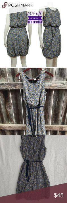 Anthropologie Maeve floral bubble dress Anthropologie Maeve floral bubble style dress. Tie waist, sleeveless.  Size 8, approximately 18 inches across chest, 36 inches top shoulder to hem.   100% polyester. Anthropologie Dresses Midi