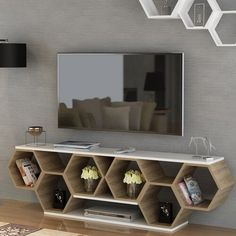 Ebern Designs Brune TV Stand for TVs up to - Modern Wall Unit Designs, Living Room Tv Unit Designs, Tv Wall Design, Shelf Design, Küchen Design, Tv Stand Designs, Cabinet Design, Tv Unit Furniture, Home Decor Furniture