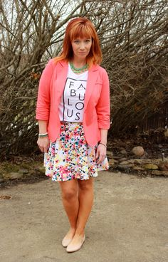 floral skater skirt, graphic tee, coral blazer, statement necklace Fashion Fairy Dust