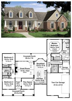 House Plan 59104 | Total living area: 1800 sq ft, 3 bedrooms & two bathrooms. A trio of neatly spaced dormers rise above the pillared front porch of this popular 1,800 sq. ft. one story.