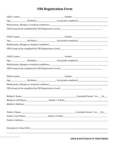 Paper Registration Form Template Vbs Registration Form Template.docx  2018 Vbs Game On  Pinterest .