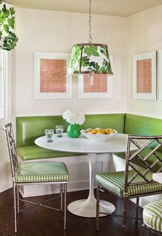 Bonnymede Project: Cusom banquette in apple green vinyl, Saarinen dining table, chandelier by Vaugan with Peter Dunham 'Fig Leaf' fabric, window treatment also w/ 'Fig Leaf', steel dining chairs from ABC Carpet & Home